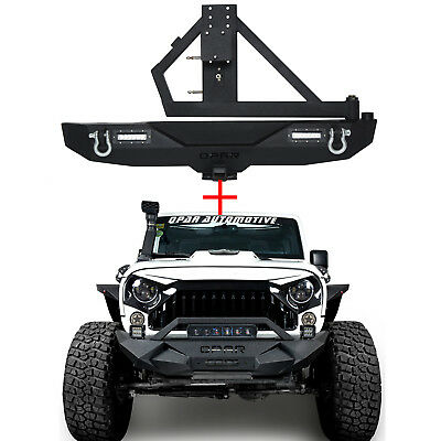 Rock Crawler Front and Rear Bumper with Tire Carrier for Jeep Wrangler JK 07-18