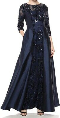 Adrianna Papell Women's Dress Blue Size 2 Gown Sequin Floral Lace