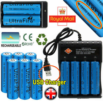 4pcs 18650 Battery 9900mAh 3.7V Li-ion Rechargeable Batteries with USB Charger