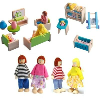 Dolls House Furniture Wooden Set People Dolls Toys For Kids Children Gift New UK