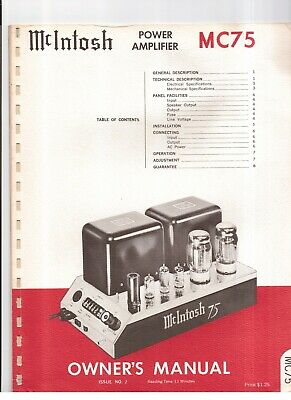 *USA* ULTIMATE McINTOSH MC75 INSTRUCTION MANUAL TUBE AMP