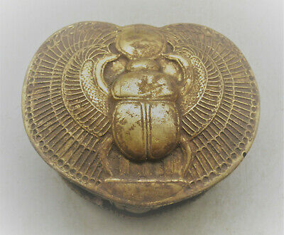 Nice Old Antique Egyptian Gold Gilded Stone Box With Depiction Of A Scarab