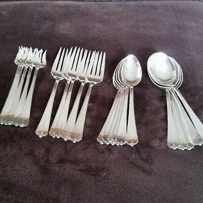 Sterling Silver 21 Pieces Of Lotus Monogramed Silverware By Watson Crown/Lion