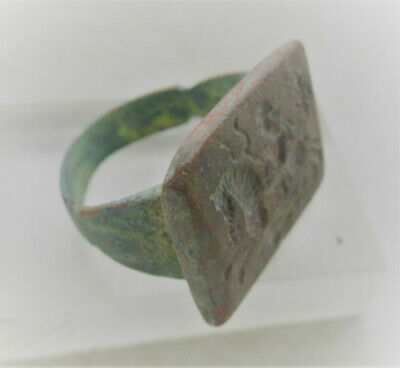 Ancient Persia Bronze Ring Depicting Horse And Warrior Wearable
