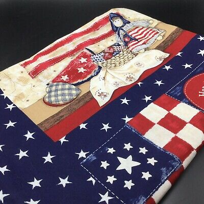 Vtg Patriotic Tablecloth Cotton 51x80 Rectangle 4th of July Americana Handmade?