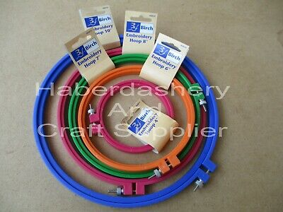 Birch Embroidery Hoops X 5 Sizes Plastic With Screw*Assorted Code Bpgop