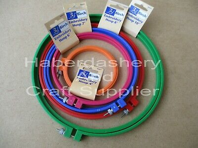 Birch Embroidery Hoops X 5 Sizes Plastic With Screw*Assorted Code Grbpo