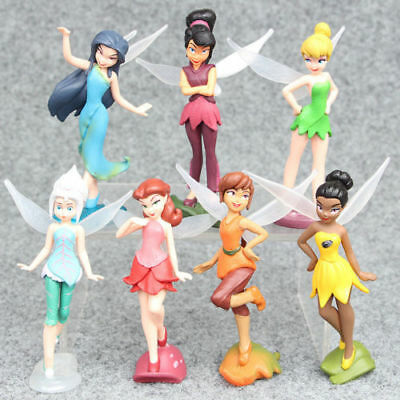 Tinkerbell Tinker Bell Girls PVC Action Figures Toys Dolls Set Cake Toppers 7pcs