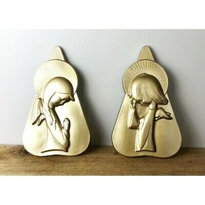 Vintage Deco Gold Angel Children Wall Hangings Hand Painted Plaster Set of 2