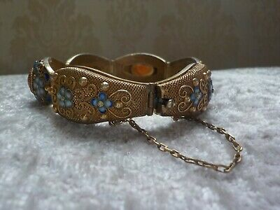 Antique Sterling Silver Chinese Enamel Flower Bracelet with stones Vintage old
