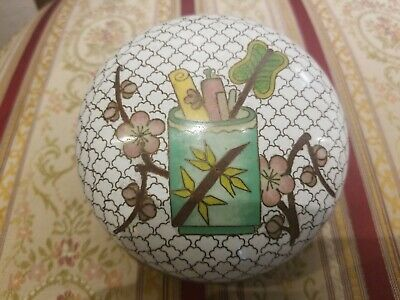 UNUSUAL CHINESE CLOISONNE ROUND COVERED BOX W/LID PRUNUS & scrolls ? fan in vase