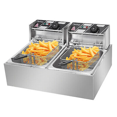 Stainless Steel Large Double-Cylinder Electric Fryer 12.7Qt Oil Pan Max. 5000W