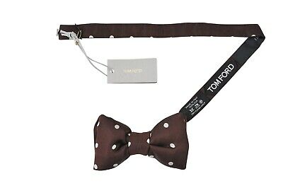 NEW TOM FORD Neck Tie SILK Brown with Beige Polka Dots TFN104