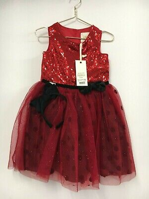 Disney Store Boutique Age 3-4 MINNIE MOUSE GLITTER SEQUIN DRESS Red New + Tags