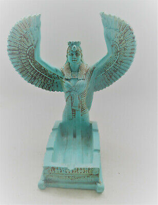 Beautiful Ancient Egyptian Glazed Faience Statue Of Winged Isis