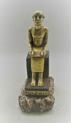 Rare Ancient Egyptian Glazed Gold Gilded Seated Statue Of Ahkenaton Circa 300Bc