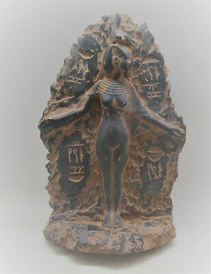 Scarce Circa 500Bce Ancient Egyptian Black Glazed Stone Statue Of Nefertiri