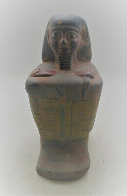 Circa 500Bce Ancient Egyptian Stone Statue Of A Seated Pharoah Very Rare