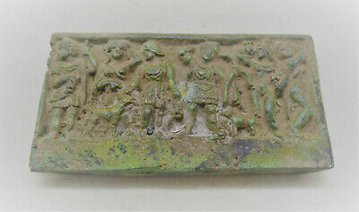 Circa 200-300Ad Ancient Roman Bronze Panel Depicting Scene Of Family Rare