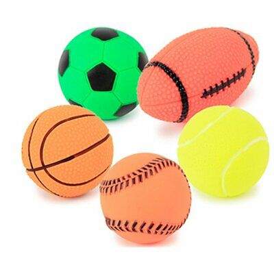 Pet Puppy Dog Squeaky Toy Fetch Toys Sports Ball Football Toy Squeeze Chew Toy