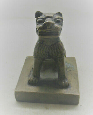 Interesting Ancient Chinese Bronze Seal Stamp With Beast On Top 1300-1400Ad