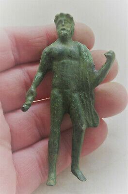 Museum Quality Ancient Roman Bronze Statuette Of Zues Holding Thunder