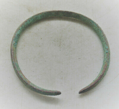 Ancient Viking Bronze Bracelet With Serpent Head Terminals