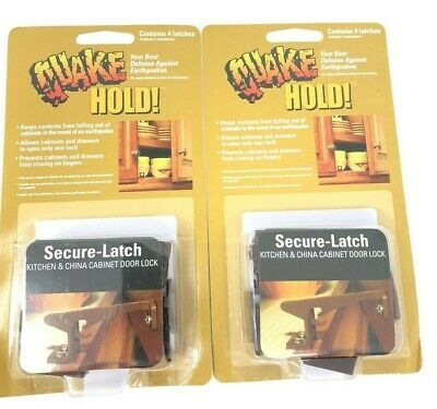 QUAKE HOLD! Secure - Latch Kitchen & China Cabinet Door Locks 2 Packs 8 Total