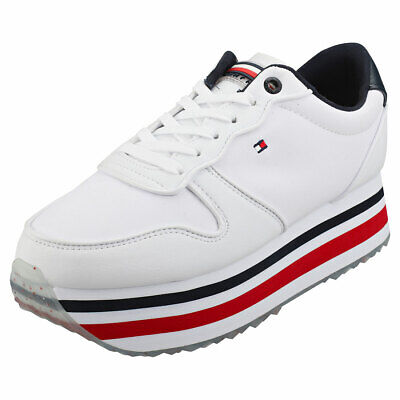 Tommy Hilfiger Piped Womens Red White Blue Synthetic & Textile Flatform Trainers