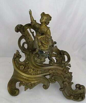 Antique French Large Bronze Statue Figurine Country Girl Rococo Style  19th