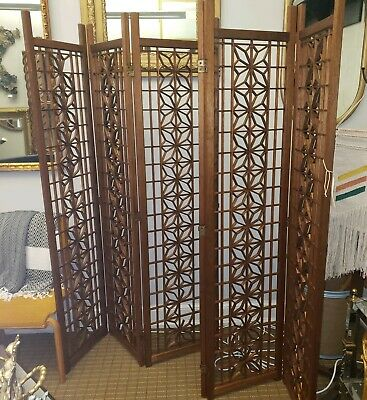 1960's Vintage Mid Century Modern Teak folding Room Divider Screen Free shipping