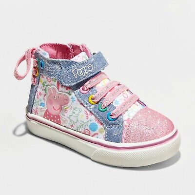 Peppa Pig Toddler Girls Pink Blue High Top Sneakers Glitter Zip Up Shoes Size 13