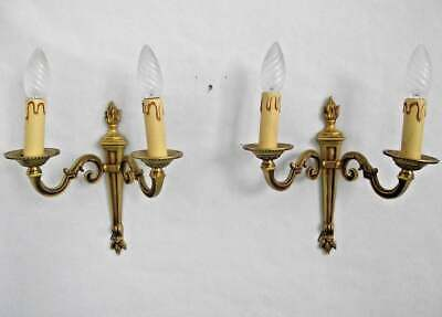 Pair French Antique Bronze Classic Empire Style Double Flame Wall Sconces 838