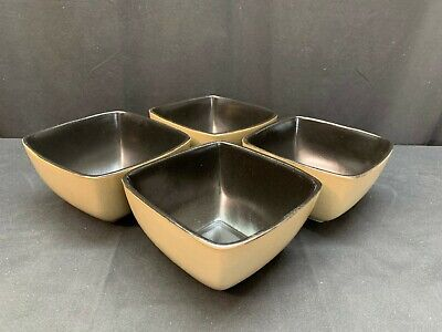 "Gibson Everyday ""RAVE TAUPE""  ~ Set of 4 ~ Square Soup / Cereal Bowls ~ 5 3/4"""