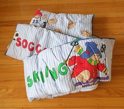 PADDINGTON BEAR SPORTS 5 pc CRIB BEDDING Vintage Made in USA