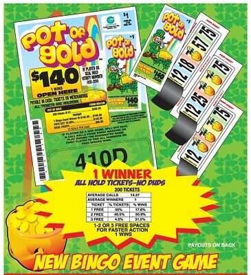 """""""Pot of Gold"""" Pull Tab Ticket $60 Profit 200 tix $140 Payout - Bingo Event Game"""