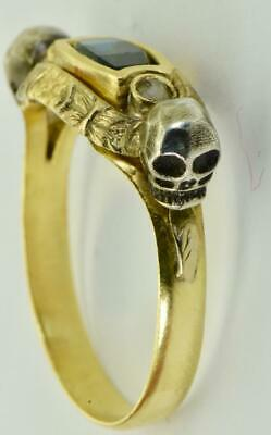 Antique Victorian Memento Mori Skulls 18k gold,Rose Diamonds&1.2ct Sapphire ring