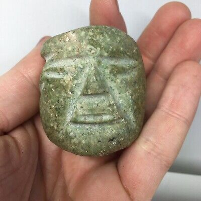 Pre-Columbian Jade Green Stone Pendant Face Olmec Head Carved Jewelry Mixtec Art