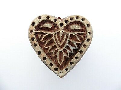 Heart Shaped 3.5 cm Indian Hand Carved Wooden Printing Block Stamp
