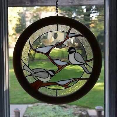 "Leaded Stained Glass Window With Birds - (set of two)15"" diameter each"