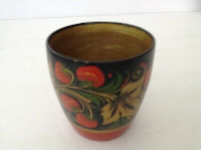 Vintage Russian Lacquer Hand Painted Folk Art Small Cup