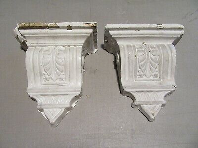 """~ Pair Of Ornate Antique Plaster Corbels 12.5"""" Tall ~ Architectural Salvage"""