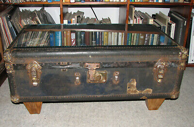 Glass Topped Antique (1930s) Wheary Steamer Trunk Coffee Table