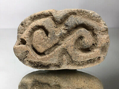 "Rare ""S""  Swirl Pre-Columbian Seal Stamp Pottery Terracotta w/ Handle - Ancient"