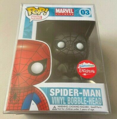 Funko Pop Fugitive Toys Exclusive BLACK & WHITE SPIDER-MAN Marvel Universe