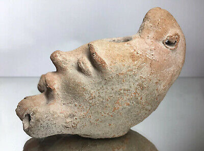 Rare Roman Empire Circa 2Nd-3Rd Century Ad - Figural Face Terracotta Oil Lamp