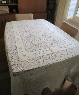 Vintage tablecoth - crocheted banquet style table cloth  - 180 x 250 cm - # 32