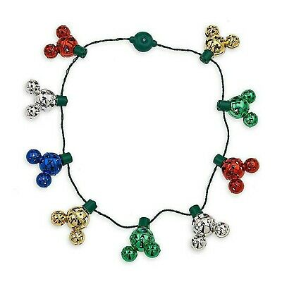 NEW Disney Parks Mickey Mouse Icon Christmas Jingle Bell Light-Up Glow Necklace