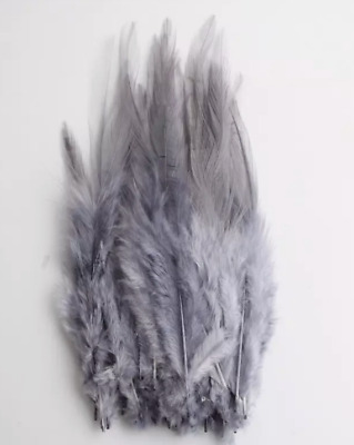 BULK 50pcs Grey Rooster Feathers 9-15cm DIY Craft Millinery Dream Catcher