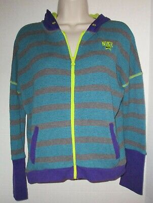 Nike Girls Size Large Multi Colored Zip Up Hoodie Blue, Gray, Purple, Yellow
